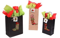 Christmas Cowboy Boot Gift Bag