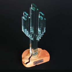 "Vertical Glass Cactus 8"" w/Sandstone"