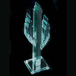 """Vertical Glass Cactus 12"""" w/Glass Base"""