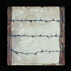 "Barbed Wire & Post 4""x4"" Deco/Border Tile"