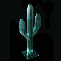 "Vertical Glass Cactus 23"" w/Glass Base"