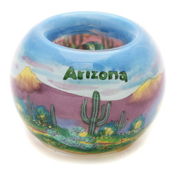 "Desert Scene with Arizona Text - 3"" Votive Set of 2"