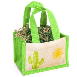 Neon Saguaro Jute Bag