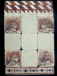 Pottery Collage Stone Tile Display