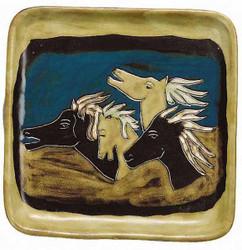 "Mara Square Plate 8"" - Horses"