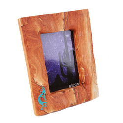 Sandstone Picture Frame w/Turquoise Kokopelli - Portrait