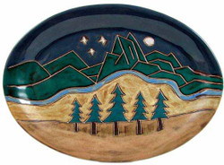 "Mara Oval Serving Platter 13"" - Mountain Scene"