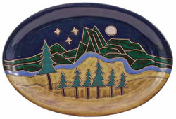 "Mara Oval Serving Platter 16"" - Mountain Scene"