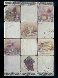Old World Wine #1 Stone Tile Display