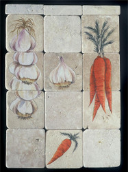 Garlic/Carrot Ristra Stone Tile Display
