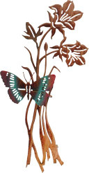 3D Butterfly and Flowers