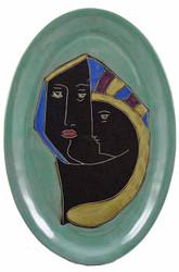 "Mara Oval Serving Platter 16"" - Faces - Light Green"
