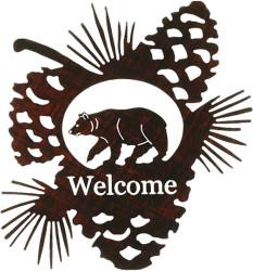 Bear Pine Cone Welcome