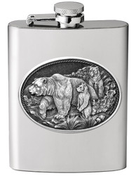 Stainless Steel Flask with Pewter Wildlife