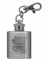 Mini Flask Key Chain with Southwest Pewter