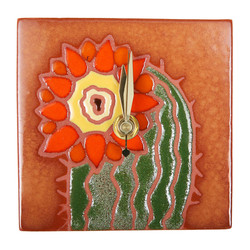 Cactus Flower Orange Desk Clock
