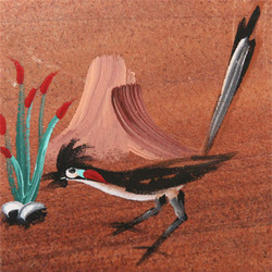 Hand Painted Roadrunner Coasters - Set of 4
