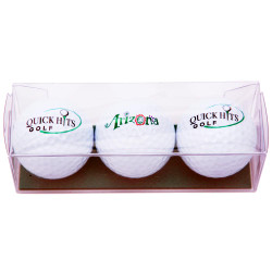 Three Arizona Golf Balls in Plastic Box