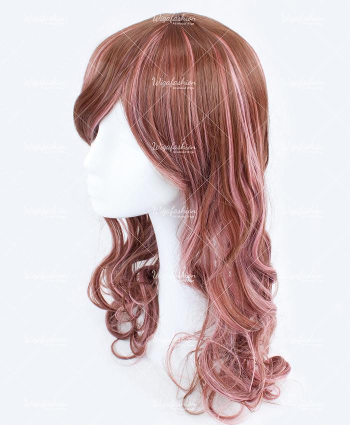 Light Brown Pink Highlight Long Wavy Wig Wigafashion