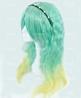 Mint Green with Blonde Deep Dye Long Wavy 70cm