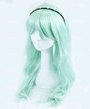 Baby Green Long Wavy 75cm