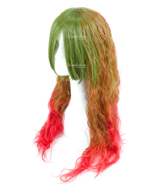 Tri Tone Green/Brown with Red bottom Long Wavy 75cm