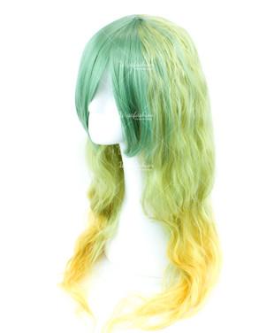 Two Tone Green/Yellow Long Wavy 75cm