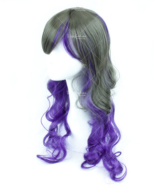Two Tone Dark Grey/Violet Long Wavy 70cm