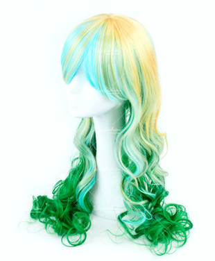 Tri Tone Blonde/Cyan with Green bottom Long Wavy 70cm