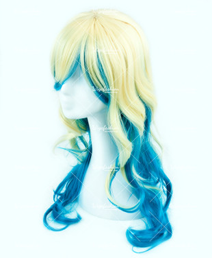 Two Tone Blonde/Blue Long Curl 70cm