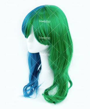 Two Tone Green/Blue Long Wavy 65cm