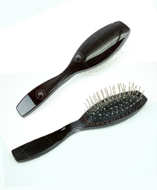 Anti-Static Stainless Steel Wig Brush - Black