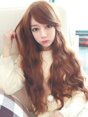Premium Wig Creamy Wave - Soft Wavy Hair (Orange Brown)