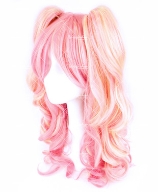 Two Tone Pink/Blonde Curly 55cm