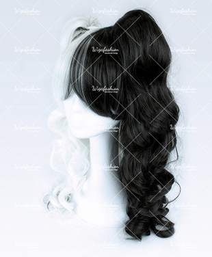 Two Tone Black White Curly 60cm