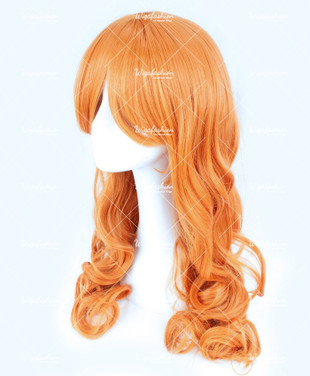 Tangy Orange Long Curly 75cm