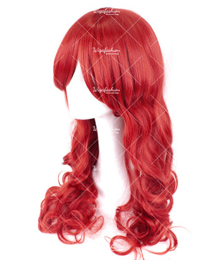 Fire Brick Red Long Wavy 70cm