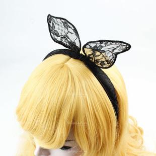 Black Lace Bunny Ears Headband