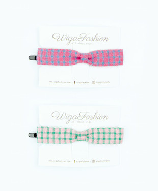 Checkered Ribbon Hair Clip