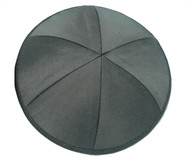Dark Grey Raw Silk Kippah