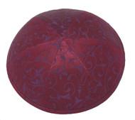 Red Metallic Vine Silk Kippah