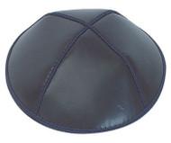 Navy Leather Kippah