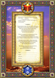 Midnight Garden In The Clouds - 3D Matted & Shadowbox Framed Ketubah