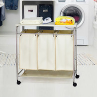 Laundry Hamper 3 Washing Basket Bag Sort + Ironing Board Trolley Clothes Storage (Cream)