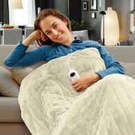 Electric Heated Throw Rug Snuggle Blanket 9 Smart Heat Settings + Timer Control (Beige)