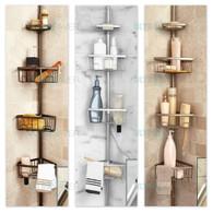 Luxury Telescopic Metal Spring Tension Pole 4 Shelf Corner Bathtub Shower Caddy(Steel Silver)