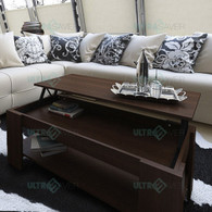 NEW Modern Lift Top Coffee Table Mechanical Lifting Convertible Interior Storage-BROWN