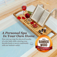 Expandable Bamboo Bath Caddy  Book iPhone Wineglass Holder Over Bathtub Rack