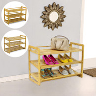 3 Tier Bamboo Shoe Rack Shoes Cabinet Storage Organiser incline adjustable level