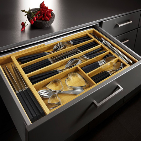 kitchen utensil organizer drawer expandable bamboo cutlery tray utensil drawer kitchen 6370
